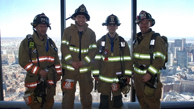Firefighters and view of city, Climb to the Top Boston 2016