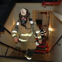 2013 Climb to the Top, Firefighter on Stairs